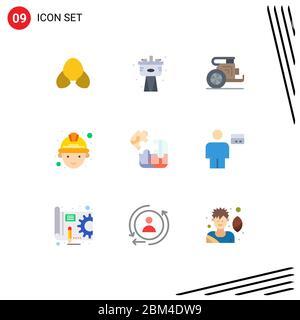 Pack de 9 symboles universels de jeu, de travailleur, de char, de mineur, de grèce Eléments de conception vectorielle modifiables Banque D'Images
