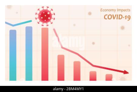 Les impacts économiques du coronavirus avec le virus ont frappé le marché boursier Banque D'Images