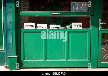J'aime les panneaux de signalisation de Vienne dans un magasin d'époque à Vienne Banque D'Images