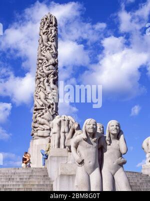 Les sculptures Monolith et Vigeland dans le parc Frogner, Bydel Frogner, Oslo, Royaume de Norvège