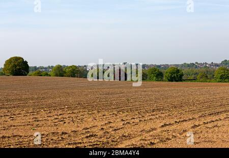 Vue sur les terres arables cultivées jusqu'à la vallée de Wensum et Costessey au-delà à Hellesdon, Norfolk, Angleterre, Royaume-Uni, Europe. Banque D'Images