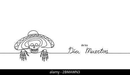Dia de los muertos. Jour des morts. Fond vectoriel, bannière. Carnaval traditionnel mexicain, bannière de vacances avec crâne, squelette et sombrero. De Banque D'Images