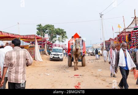 Camel décorée en couleurs pour les touristes dans la Foire de Pushkar Banque D'Images