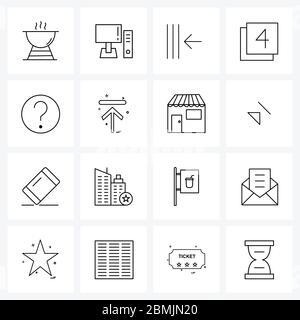Jeu de 16 icônes et symboles de l'interface utilisateur pour information, quatre, pc, page, paginer Illustration vectorielle