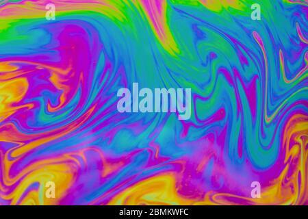 Arrière-plan de motifs multicolores psychédéliques. Photo macro-prise de bulles de savon