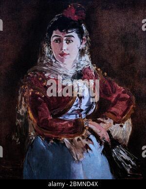 Portrait d'Émilie Ambre comme Carmen, peint en 1880 par Édouard Manet (1832-1883), peintre moderniste français et l'un des premiers artistes du XIXe siècle à peindre la vie moderne, et figure pivot dans la transition du réalisme à l'impressionnisme. Son sujet, Émilie Gabrielle Adèle Ambre (1849-1898) est une chanteuse d'opéra française qui joue des rôles de soprano en Europe et en Amérique du Nord. Banque D'Images