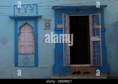 Jodhpur, façade de nostalgie dans la ville bleue, Rajasthan, Inde