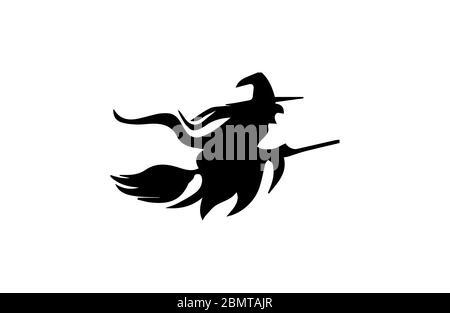 Silhouette d'une sorcière volante avec son bâton de couvée sur fond blanc Banque D'Images