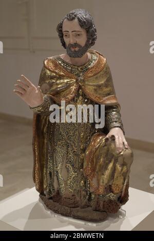 Saint Joseph. Artiste napolitain inconnu. xviie siècle. Sculpture polychrome. Musée national des Beaux-Arts. Valletta. Malte. Banque D'Images
