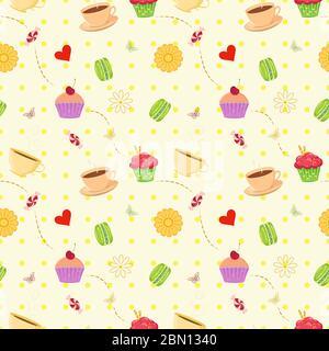Motif vectoriel coloré sans couture avec cupcakes à dessert dessinés à la main, macarons, bonbons et tasses à thé. Un fond de cuisine unique et élégant sans couture avec Banque D'Images