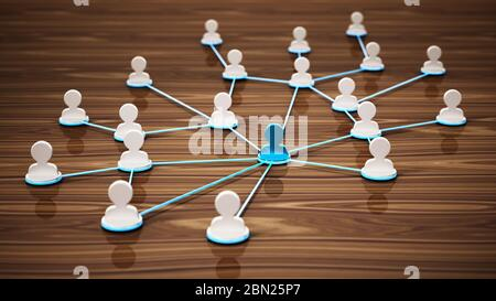 Lignes reliant les symboles blancs de la tête 3D. Concept de connectivité et de réseau. Illustration 3D.
