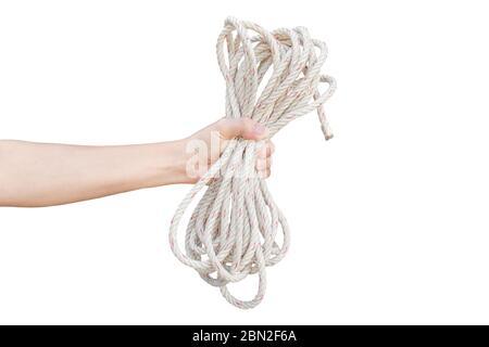 Corde de maintien isolée à la main sur fond blanc. Objet avec chemin d'écrêtage. Banque D'Images