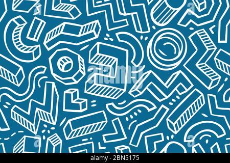 Esquisse de répétition sans couture. Illustration vectorielle d'arrière-plan géométrique dessinée à la main