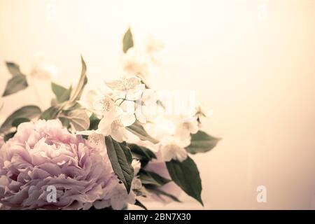 Printemps fleurs fond en filtre vintage, avec pivoine (paeonia) et orange mock (philadelphus). Papier peint gros plan bouquet BW avec espace de copie sur l'appareil RIG Banque D'Images