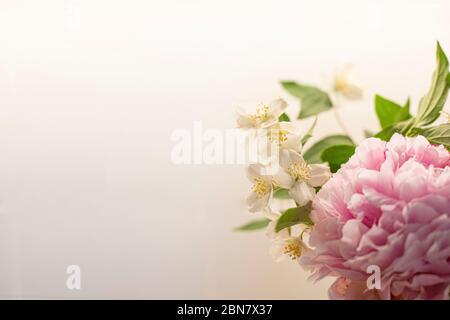 Le fond des fleurs printanières est rose et blanc, avec pivoine (paeonia) et orange mock (philadelphus). Papier peint gros plan bouquet BW avec espace de copie sur lef Banque D'Images