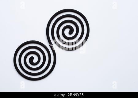 Bobines anti-moustiques en spirale noires sur fond blanc. Copier l'espace Banque D'Images
