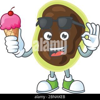 Bonne face de firmicutes caricature mascotte ayant une glace