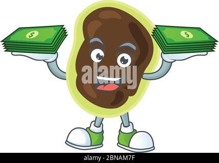 Une mascotte de dessin animé firmicutes gai ayant un peu d'argent sur les mains