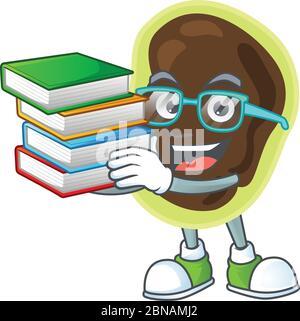 Une conception de mascotte de firmicutes étudiant ayant des livres