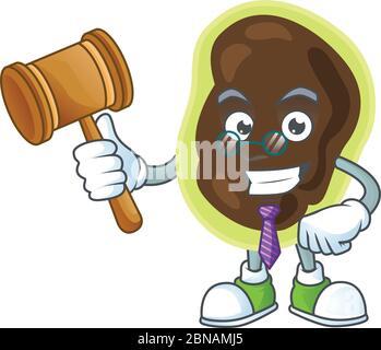 Un sage juge firmicutes dessin de mascotte de dessin animé portant des lunettes