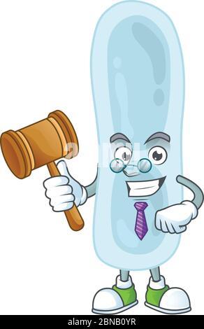 Un sage juge klebsiella pneumoniae dessin de mascotte de dessin animé portant des lunettes