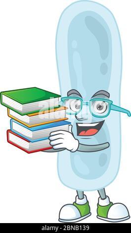 Une mascotte de klebsiella pneumoniae étudiant ayant des livres