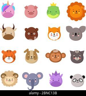 Visages animaux mignons. Chien et chat, vache et renard, licorne et panda. Animal gamin emoji. Collection de vecteurs du zoo de kawaii, comprenant des ovins et des singes, des chats et des tigres, des koala et des ours Banque D'Images