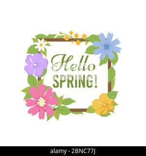 Fond de fleurs de printemps. Belle carte postale florale. Modèle de vecteur de carte d'invitation pour les plantes printanières et estivales. Bonjour printemps, fleurs de couleur illustration Banque D'Images