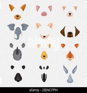 Vidéo mobile chat visages animaux. Masques d'animaux de dessin animé isolés sur fond transparent. Illustration de lapin et zébré à visage vectoriel, lièvre et tigre Banque D'Images