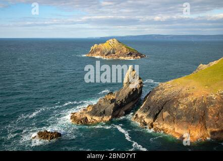 Seven Souls Rock au large de Pentire point Banque D'Images
