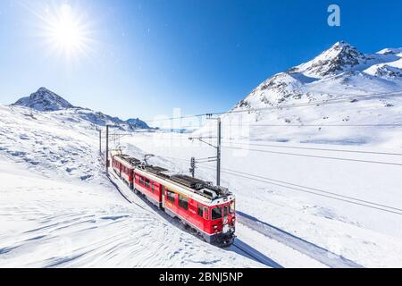 Bernina Express transit le long du Lago Bianco en hiver, Bernina Pass, Engadine, Canton de Graubunden, Suisse, Europe