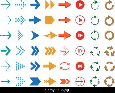 Flèches modernes de couleur. Ensemble d'icônes vectorielles Banque D'Images