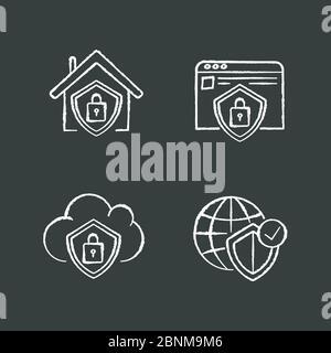 Les icônes blanches du système de sécurité Internet sont affichées sur fond noir. Verrouillage intelligent. Sécurité du Cloud computing. Protection des renseignements personnels. Illustrations vectorielles isolées Banque D'Images