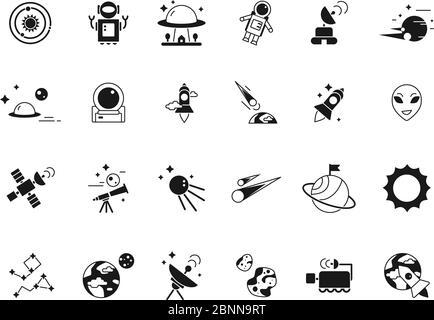 Icônes de l'espace de l'Explorateur. Des astronautes de navette téléscopique en lune et divers satellites de planètes. Silhouettes vectorielles des images d'espace Banque D'Images