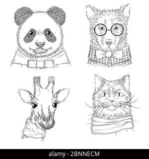 Animaux de l'hippopotate. Mode adultes illustrations animaux sauvages dans divers vêtements vecteur croquis dessinés à la main Banque D'Images