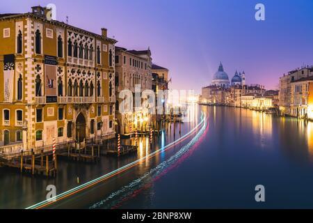 Grand Canal de nuit, Palazzo Cavalli-Franchetti, Santa Maria della Salute, Venise, centre historique, Vénétie, Italie, Nord de l'Italie, Rialto, Europe