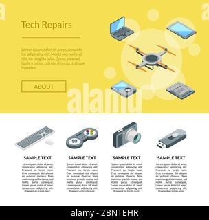 Illustration du modèle de page d'accueil des icônes de gadgets isométriques vectoriels Banque D'Images