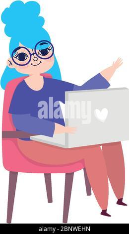 travaillant à distance, jeune femme assise sur une chaise avec illustration vectorielle pour ordinateur portable