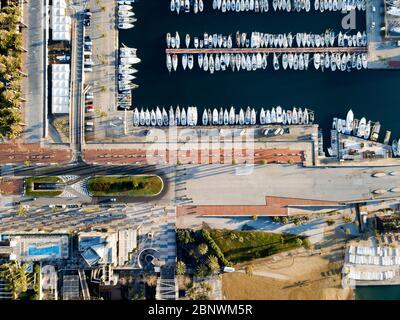 Port Olimpic ou vue aérienne du port olympique Barcelone Catalogne Espagne