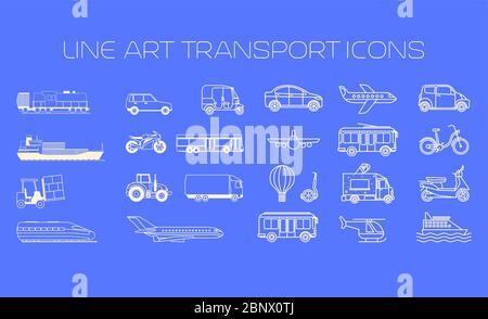 Grandes icônes de ligne de transport sur l'illustration vectorielle d'arrière-plan bleu Banque D'Images