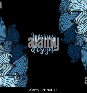 Vagues bleues sur fond noir, motif carte. Illustration vectorielle Banque D'Images