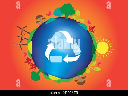 Illustration vectorielle conceptuelle pour le vert, le recyclage, la réutilisation et l'énergie durable. Symbole de recyclage sur terre propre avec des arbres, énergie solaire et vent po Banque D'Images