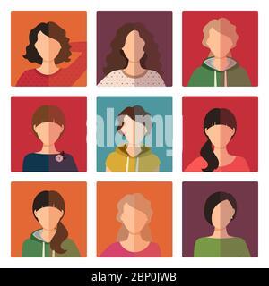 Ensemble d'icônes d'avatar pour jeunes filles, illustration vectorielle Banque D'Images