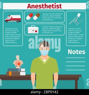 Icônes d'anesthésiste et d'équipement médical avec éléments infographiques pour l'industrie médicale et pharmaceutique. Illustration vectorielle Banque D'Images
