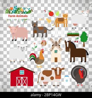 Animaux de ferme de style plat isolés sur fond transparent, illustration vectorielle Banque D'Images