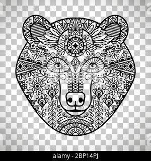 Soyez patient. Dessin main de la face de l'ours, illustration vectorielle isolée sur fond transparent Banque D'Images