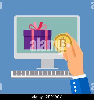 Acheter des produits en ligne par bitcoin. Homme d'affaires tenant le bitcoin, illustration vectorielle Banque D'Images