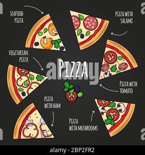Tranches de pizza. Menu pizzeria de tableau noir. Icônes de pizza colorées avec vecteur de texte sur fond noir