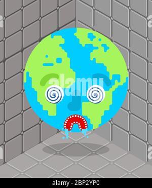 La Terre dans le nuthouse. Une planète folle en asile lunatique Banque D'Images