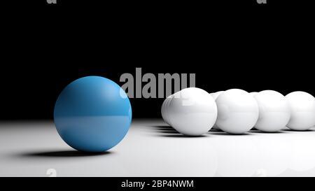 Image de concept abstraite - une boule bleue devant de nombreuses boules blanches sur une surface blanche - illustration de rendu 3D Banque D'Images